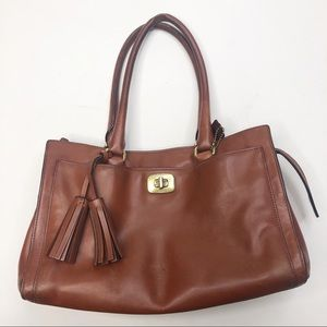 Coach Cognac Legacy Leather Tassel Shoulder Bag